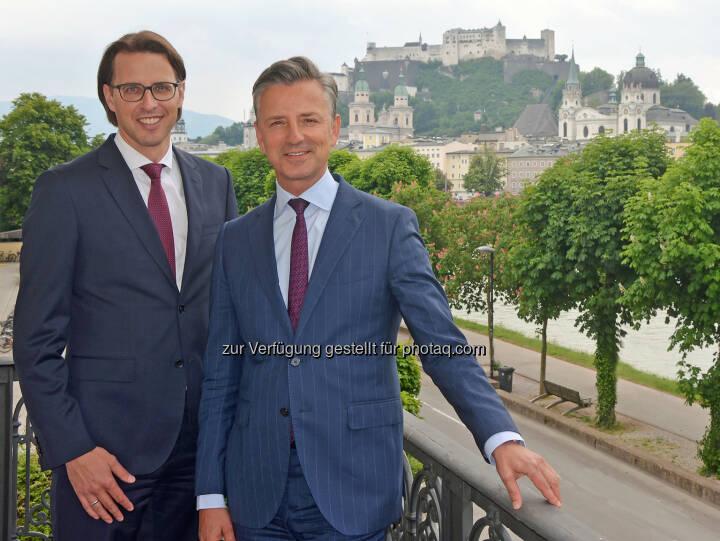 Werner Zenz (rechts) wird Nachfolger von Vorstandssprecher Helmut Gerlich und Nils Kottke rückt in den Spängler-Vorstand auf und übernimmt das Ressort Privatvermögen (Bild: Spängler)