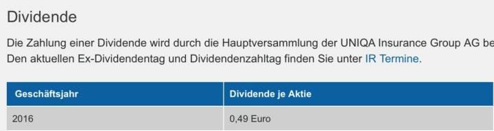 Indexevent Rosinger-Index 26: Uniqa Dividende 8.6. Dividende 0,49 EUR -> Erhöhung Stückzahl um 6,32 Prozent