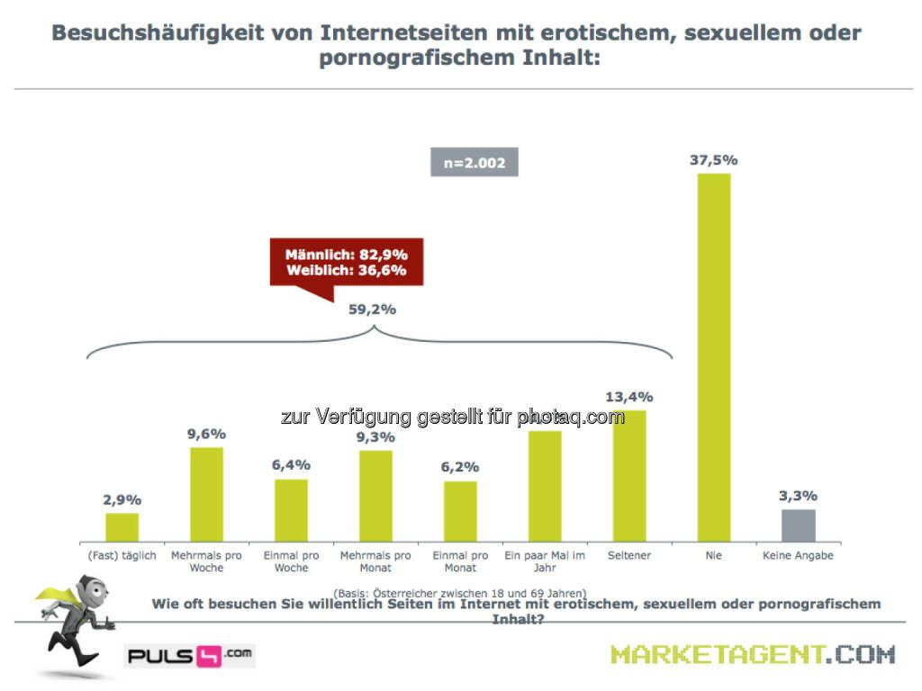 Besuchshäufigkeit von Internetseiten mit erotischem, sexuellem oder pornografischem Inhalt (Bild: puls4.com/marketagent.com) (17.05.2013)