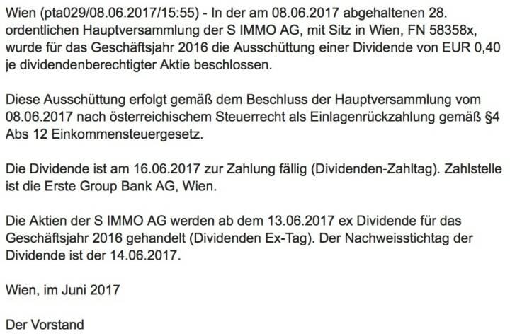 Indexevent Rosinger-Index 27: S Immo Dividende 13.6. Dividende 0,40 EUR -> Erhöhung Stückzahl um 3,17 Prozent
