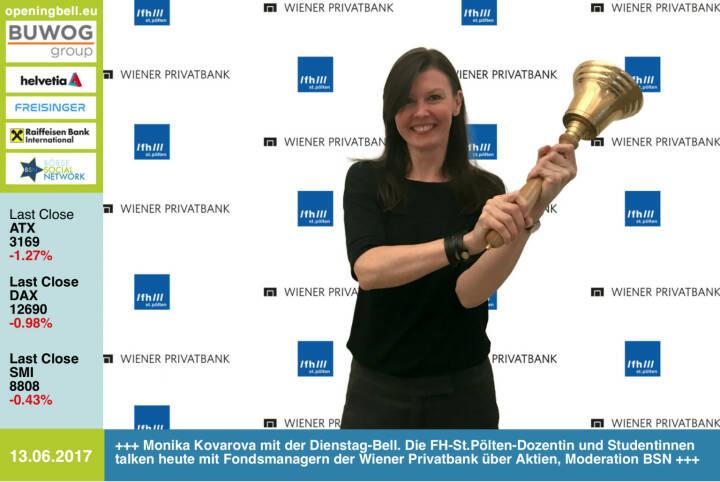 #openingbell am 13.6.: Monika Kovarova-Simecek mit der Opening Bell für Dienstag. Die Dozentin an der FH St. Pölten bringt heute Studentinnen zum Aktien-Roundtable mit Fondsmanagern der Wiener Privatbank; Moderation Börse Social Magazine für den WIENER  https://www.fhstp.ac.at http://www.wienerprivatbank.com  http://wiener-online.at  http://www.boerse-social.com/magazine https://www.facebook.com/groups/GeldanlageNetwork/