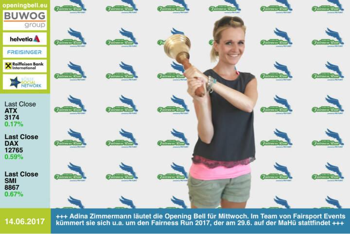 #openingbell am 14.6.: Adina Zimmermann läutet die Opening Bell für Mittwoch. Im Team von Fairsport Events kümmert sie sich u.a. um den Fairness Run 2017, der am 29.6. auf der MaHü stattfindet http://www.fairnessrun.at/wien/ http://www.runplugged.com  https://www.facebook.com/groups/Sportsblogged