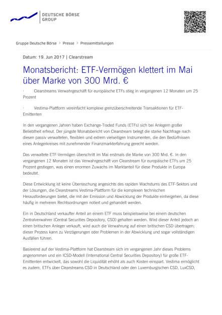 Clearstream: Monatsbericht: ETF-Vermögen, Seite 1/2, komplettes Dokument unter http://boerse-social.com/static/uploads/file_2284_clearstream_monatsbericht_etf-vermogen.pdf (20.06.2017)