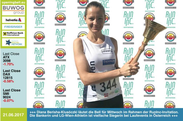 #openingbell am 21.6.: Diana Berisha-Klusóczki läutet die Opening Bell für Mittwoch im Rahmen der RunInc-Invitation. Die Bankerin und LG-Wien-Athletin ist vielfache Siegerin bei Laufevents in Österreich http://www.runplugged.com http://www.runinc.at https://www.facebook.com/groups/GeldanlageNetwork/ https://www.facebook.com/groups/Sportsblogged
