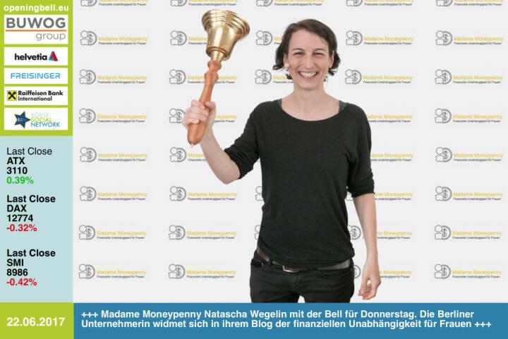 #openingbell am 22.6.: Madame Moneypenny Natascha Wegelin mit der Opening Bell für Donnerstag. Die Berliner Unternehmerin widmet sich in ihrem Blog der finanziellen Unabhängigkeit für Frauen http://madamemoneypenny.de https://www.facebook.com/groups/GeldanlageNetwork/ #goboersewien
