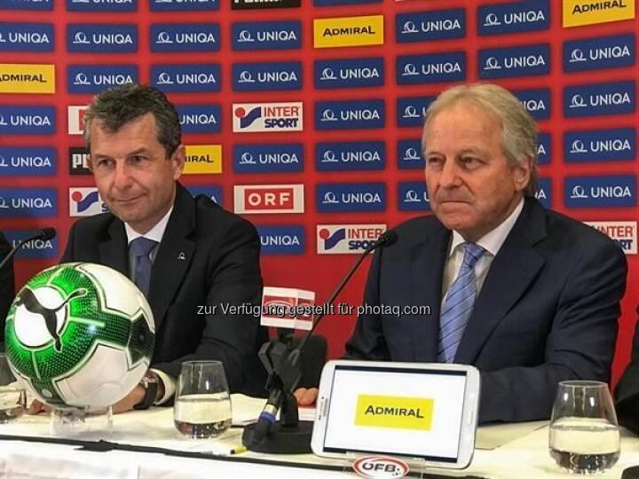 Kurt Svoboda CRO/CFO UNIQA, Leo Windtner ÖFB-Präsident (Bild: Uniqa)