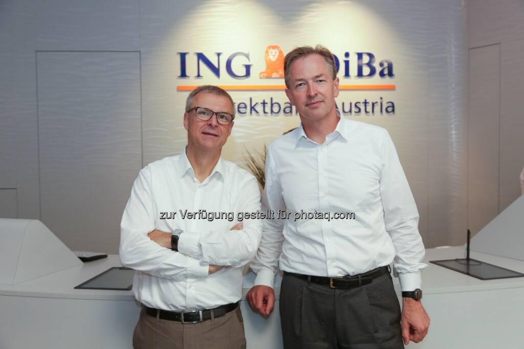 Luc Truyens, CEO ING-DiBa Austria und Martin Krebs, Global Head of Retail Investment Product Solutions ING - ING-DiBa Austria: Digitalisierung in der ING-Gruppe: Österreich bei der Nutzung digitaler Kanäle an der Spitze (Bild: ING-DiBa Austria /APA-Fotoservice/Tanzer), © Aussendung (28.06.2017)