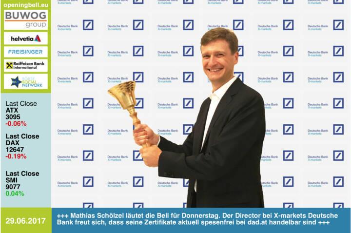 #openingbell am 29.6.: Mathias Schölzel läutet die Opening Bell für Donnerstag. Der Director bei X-markets Deutsche Bank freut sich, dass seine Zertifikate aktuell spesenfrei bei dad.at handelbar sind https://www.xmarkets.db.com/DE/Startseite http://www.dad.at https://www.facebook.com/groups/GeldanlageNetwork/ #goboersewien