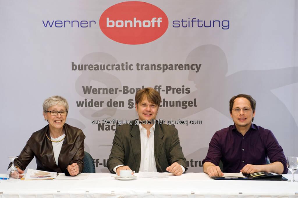 Bei der Pressekonferenz  v.l. Renate Günther-Greene (Preisträgerin 2012), Till Bartelt, Tim Wessels (Preisträger 2013), © gruendungszuschuss.de (19.05.2013)
