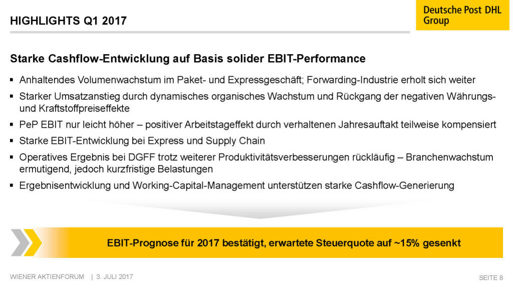 Präsentation Deutsche Post - Highlights Q1 2017 (02.07.2017)