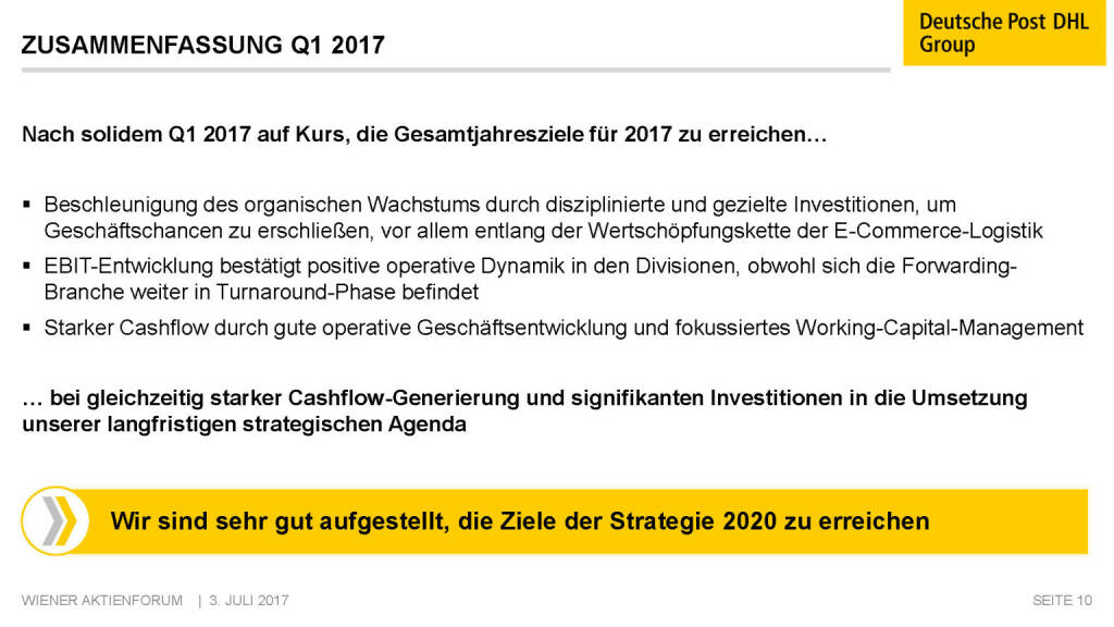 Präsentation Deutsche Post - Zusammenfassung Q1 2017 (02.07.2017)