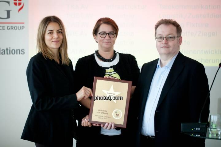 Hall of Fame-Aufnahme für den Flughafen Wien: Christine Petzwinkler (BSN), Judit Helenyi (Leitung Investor Relations, Flughafen Wien), Gregor Rosinger (Rosinger Group) http://www.boerse-social.com/hall-of-fame