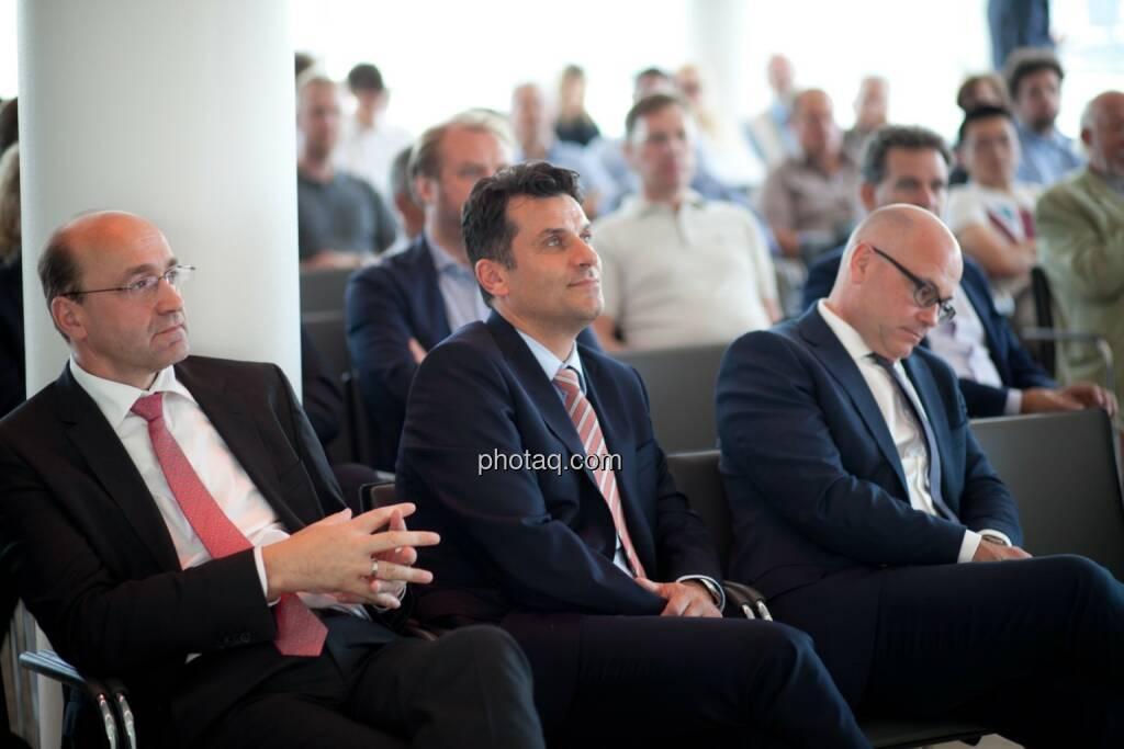 Ernst Huber (dad.at Bank), Josko Radeljic (BayWa AG), Ulrich Brockmann (Fielmann AG) plus Gäste der Roadshow, © Michaela Mejta (04.07.2017)