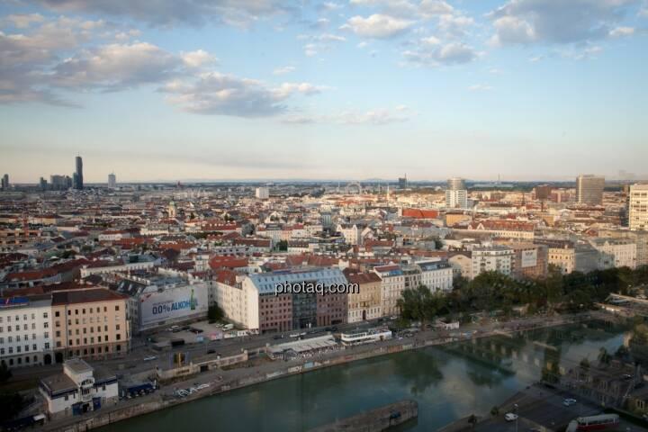 Wien, Häuser, Immobilien, Wolken, Donaukanal