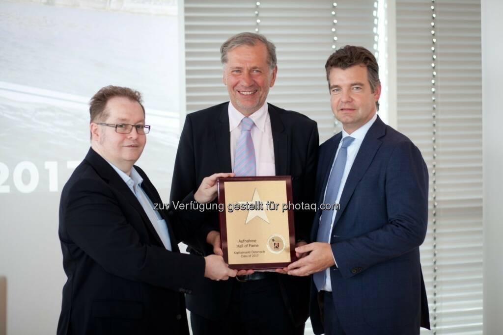 Wilhelm Rasinger (Mitte, IVA), Gregor Rosinger (Rosinger Group, links), Marc Tüngler (DSW, rechts), © Martina Draper/photaq (05.07.2017)
