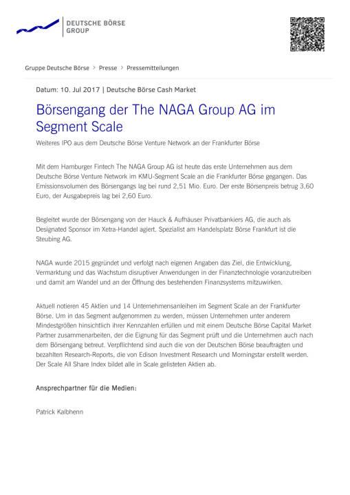 Börsengang der The NAGA Group AG im Segment Scale, Seite 1/2, komplettes Dokument unter http://boerse-social.com/static/uploads/file_2285_borsengang_der_the_naga_group_ag_im_segment_scale.pdf