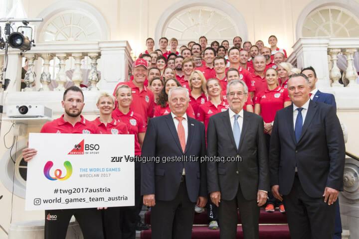 Bundes-Sportorganisation (BSO): BSO: Österreichs World Games Team durch Bundespräsidenten Van der Bellen verabschiedet (Fotocredit: BSO/Leo Hagen)