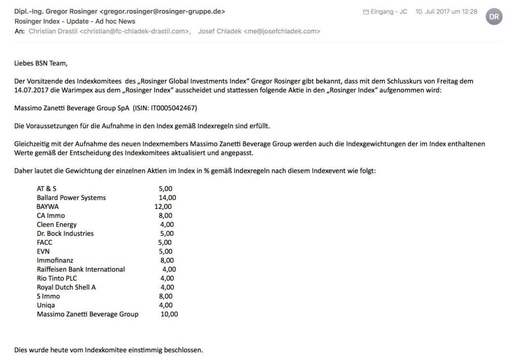 Indexevent Rosinger-Index 30: Aufnahme Massimo Zanetti Beverage Group per Schlusskurse 14.7.2017, Herausnahme Warimpex ebenfalls per 14.7.2017 (15.07.2017)