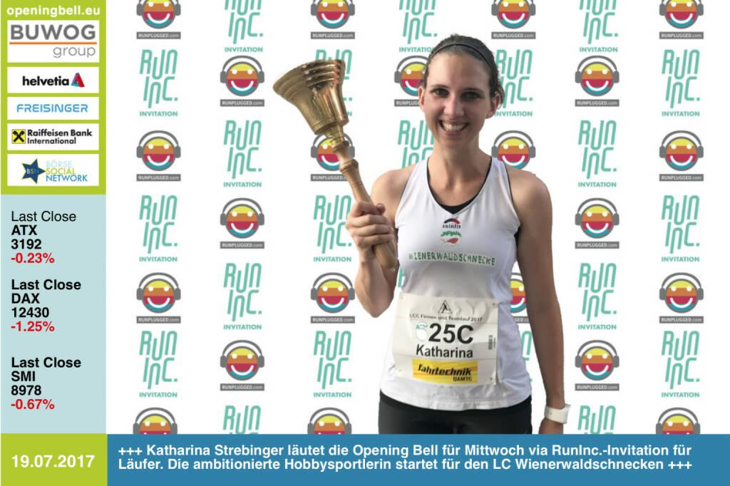 #openingbell am 19.7.: Katharina Strebinger läutet die Opening Bell für Mittwoch im Rahmen der RunInc.-Invitation für Läufer/innen. Die ambitionierte Hobbysportlerin startet für den LC Wienerwaldschnecken http://www.lc-wienerwaldschnecken.at/ http://www.runinc.at http://www.runplugged.com https://www.facebook.com/groups/Sportsblogged/ (19.07.2017)