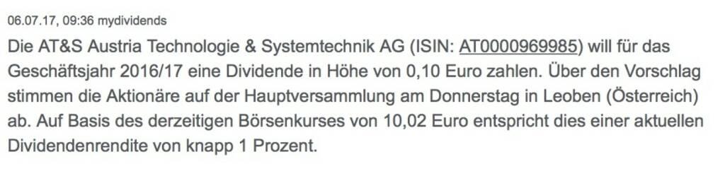 Indexevent Rosinger-Index 31: AT&S Dividende 25.7. Dividende 0,10 EUR -> Erhöhung Stückzahl um 0,89 Prozent (25.07.2017)
