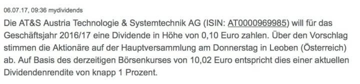Indexevent Rosinger-Index 31: AT&S Dividende 25.7. Dividende 0,10 EUR -> Erhöhung Stückzahl um 0,89 Prozent