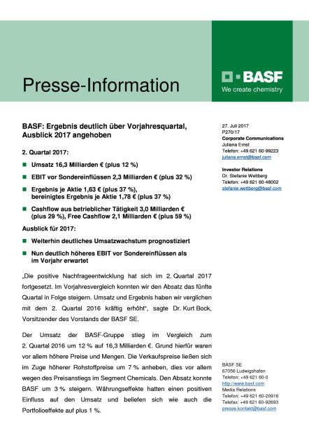 BASF - Q2, Seite 1/6, komplettes Dokument unter http://boerse-social.com/static/uploads/file_2296_basf_-_q2.pdf (27.07.2017)