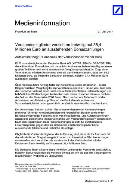 Deutsche Bank: Vorstand verzichtet freiwillig auf Bonuszahlungen von 38,4 Mio. Euro, Seite 1/2, komplettes Dokument unter http://boerse-social.com/static/uploads/file_2299_deutsche_bank_vorstand_verzichtet_freiwillig_auf_bonuszahlungen_von_384_mio_euro.pdf (27.07.2017)