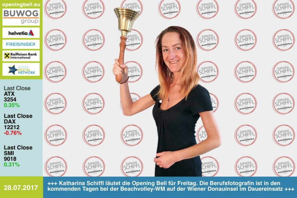 #openingbell am 28.7.: Katharina Schiffl läutet die Opening Bell für Freitag. Die Berufsfotografin ist in den kommenden Tagen bei der Beachvolley-WM auf der Wiener Donauinsel im Dauereinsatz http://www.facebook.com/katharinaschiffl/ https://www.facebook.com/groups/Sportsblogged/  (28.07.2017)