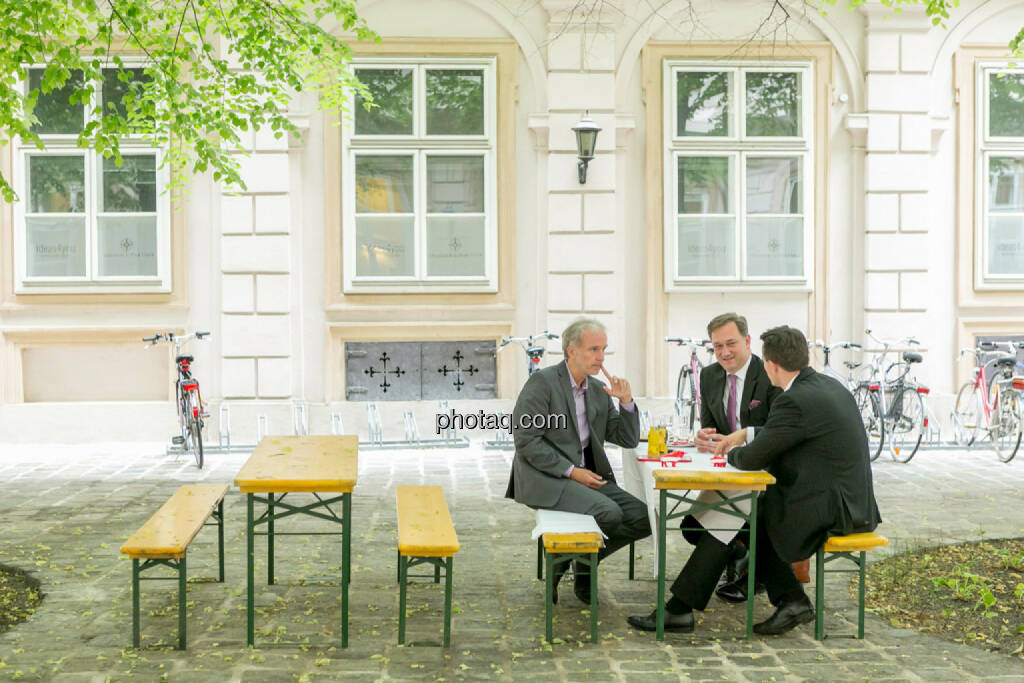 Christian Drastil (BSN), Nico Baader (Baader Bank), Christoph Boschan (Wiener Börse), © Martina Draper/photaq (30.07.2017)