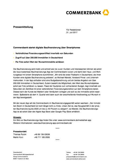 Commerzbank startet digitale Baufinanzierung über Smartphones, Seite 1/2, komplettes Dokument unter http://boerse-social.com/static/uploads/file_2301_commerzbank_startet_digitale_baufinanzierung_uber_smartphones.pdf (31.07.2017)