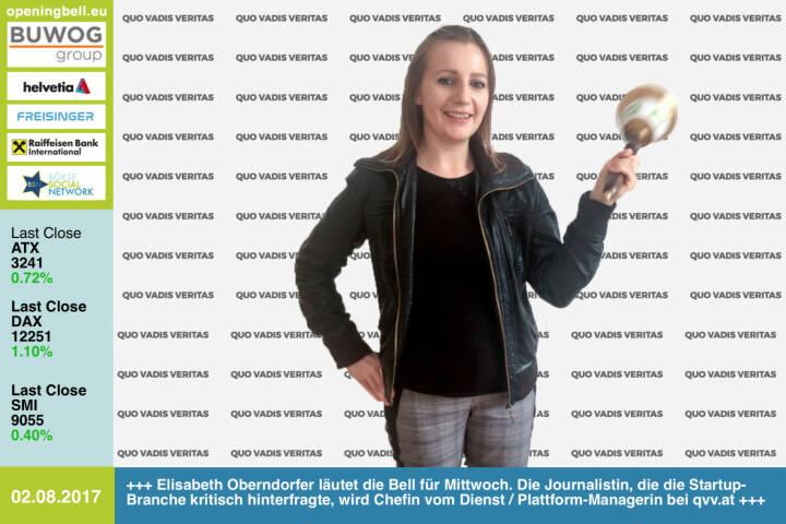 #openingbell am 2.8.: Elisabeth Oberndorfer läutet die Opening Bell für Mittwoch. Die Journalistin, die die Startup-Branche kritisch hinterfragte, wird Chefin vom Dienst / Plattform-Managerin bei Quo Vadis Veritas http://www.qvv.at https://www.facebook.com/groups/GeldanlageNetwork/ #goboersewien