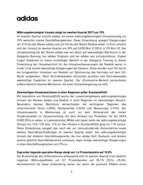 adidas - Q2 2017, Seite 2/9, komplettes Dokument unter http://boerse-social.com/static/uploads/file_2305_adidas_-_q2_2017.pdf (03.08.2017)