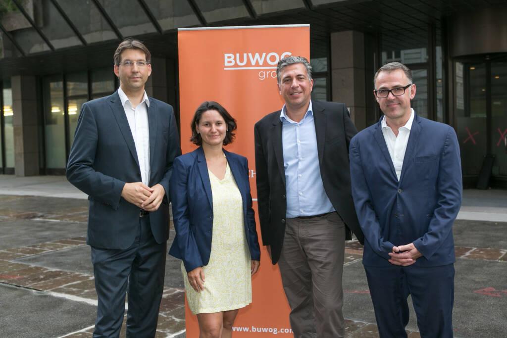 Buwog: Zeitplan Projekt Rathausstraße + Infoveranstaltung  (v.l.n.r.) Markus Figl (BV 1. Bezirk), Veronika Mickel-Göttfert (BV 8. Bezirk), Buwog-GF Andreas Holler, Anrainer-Ombudsmann Thomas Romm (c) Martina Draper für Buwog (04.08.2017)
