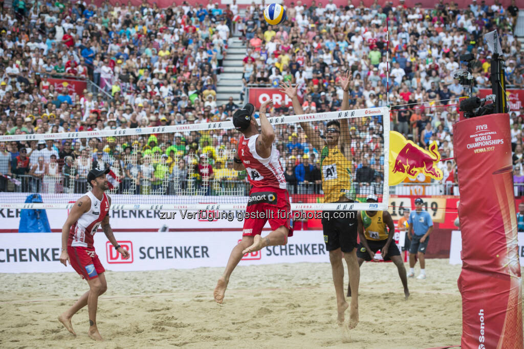 during the Beach Volleyball World Championships in Vienna, Austria on August 6, 2017. - ACTS Sportveranstaltungen GmbH: FIVB Beach Volleyball WM presented by A1: Der Silberschatz der Wiener Donauinsel! (Fotograf: Schuster / Fotocredit: Acts Sport) (07.08.2017)