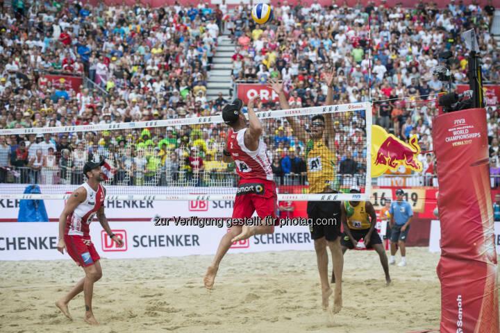 during the Beach Volleyball World Championships in Vienna, Austria on August 6, 2017. - ACTS Sportveranstaltungen GmbH: FIVB Beach Volleyball WM presented by A1: Der Silberschatz der Wiener Donauinsel! (Fotograf: Schuster / Fotocredit: Acts Sport)
