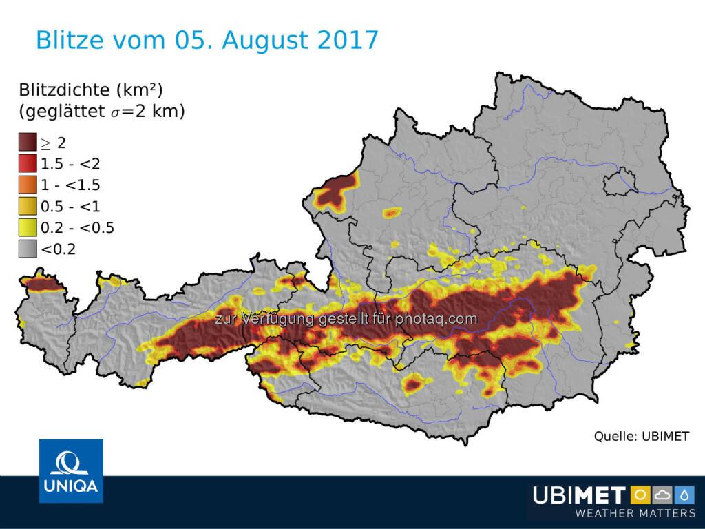 Blitze in Österreich am 5.8.2017 - UNIQA Insurance Group AG: UNIQA Österreich erwartet aus aktuellem Unwetter Schäden im einstelligen Millionen-Euro-Bereich (Fotocredit: UNIQA/UBIMET), © Aussender (08.08.2017)