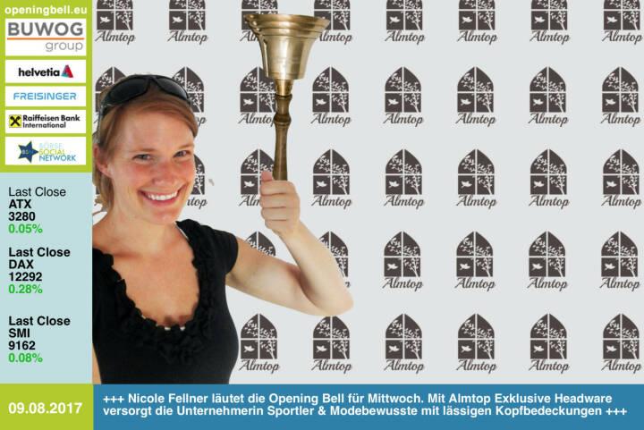 #openingbell am 9.8.: Nicole Fellner läutet die Opening Bell für Mittwoch. Mit Almtop Exklusive Headware versorgt die Unternehmerin Sportler und Modebewusste mit lässigen Kopfbedeckungen https://www.facebook.com/Almtop-Exklusive-Headware-399728066874749/ https://www.facebook.com/groups/Sportsblogged/