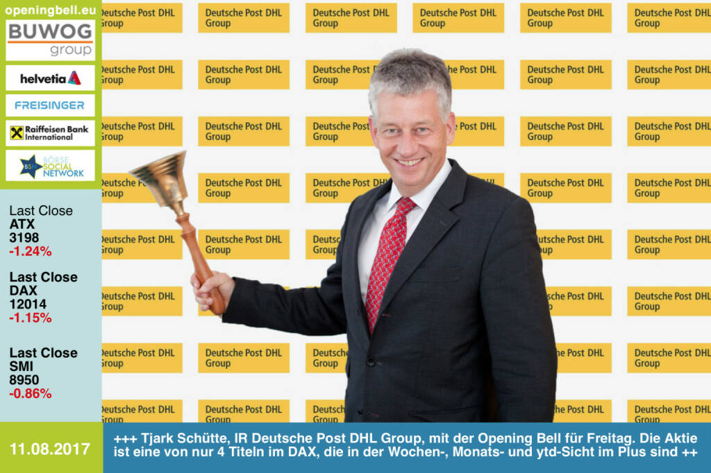 #openingbell am 11.8.: Tjark Schütte, Investor Relations Deutsche Post DHL Group, läutet die Opening Bell für Freitag. Die Aktie ist eine von nur 4 Titeln im DAX, die in der Wochen-, Monats- und ytd-Sicht im Plus sind http://www.dpdhl.com/de.html https://www.facebook.com/groups/GeldanlageNetwork (11.08.2017)