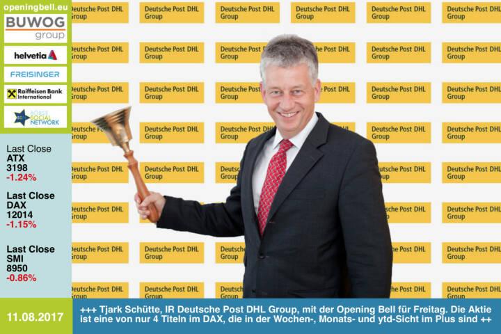#openingbell am 11.8.: Tjark Schütte, Investor Relations Deutsche Post DHL Group, läutet die Opening Bell für Freitag. Die Aktie ist eine von nur 4 Titeln im DAX, die in der Wochen-, Monats- und ytd-Sicht im Plus sind http://www.dpdhl.com/de.html https://www.facebook.com/groups/GeldanlageNetwork