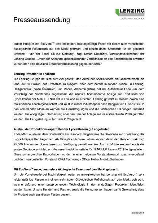 Lenzing Gruppe mit bestem Halbjahr der Unternehmensgeschichte, Seite 2/5, komplettes Dokument unter http://boerse-social.com/static/uploads/file_2312_lenzing_gruppe_mit_bestem_halbjahr_der_unternehmensgeschichte.pdf