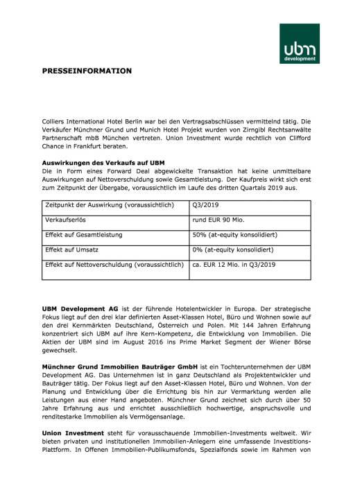 UBM: Hotel-Großprojekt in Hamburg für 90 Mio. Euro an Union Investment verkauft, Seite 2/3, komplettes Dokument unter http://boerse-social.com/static/uploads/file_2314_ubm_hotel-grossprojekt_in_hamburg_fur_90_mio_euro_an_union_investment_verkauft.pdf