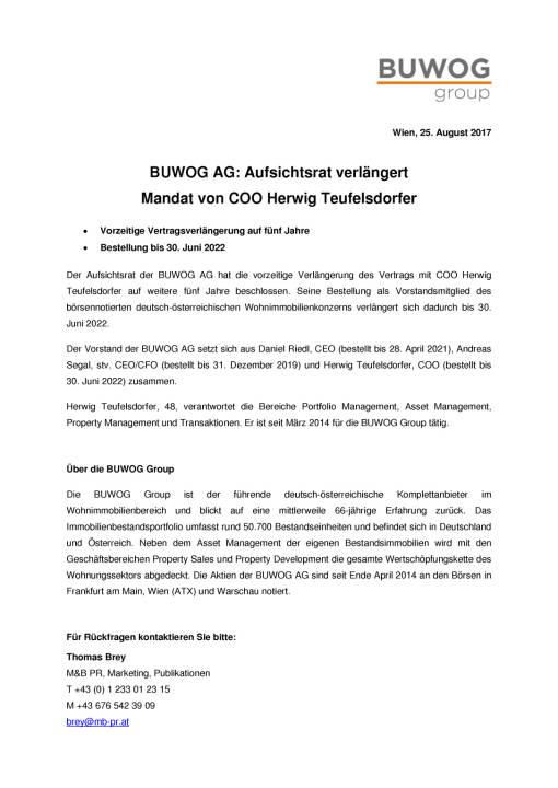 Buwog: Vertragsverlängerung für COO Herwig Teufelsdorfer, Seite 1/1, komplettes Dokument unter http://boerse-social.com/static/uploads/file_2315_buwog_vertragsverlangerung_fur_coo_herwig_teufelsdorfer.pdf