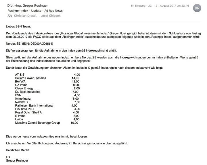Indexevent Rosinger-Index 34: Aufnahme Nordex per Schlusskurse 25.8.2017, Herausnahme FACC ebenfalls per 25.8.2017