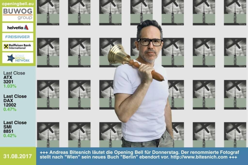 #openingbell am 31.8.: Andreas Bitesnich läutet die Opening Bell für Donnerstag. Der renommierte Fotograf stellt nach Wien sein neues Buch Berlin ebendort vor. Das Buch ist seit heute auch im Shop unter http://bitesnich.com/shop/ erhältlich, die Homepage ist übrigens eine gemeinsame Entwicklung der FC Chladek Drastil GmbH und Andreas Bitesnich (31.08.2017)