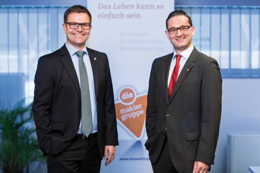 FinanceApp AG: wefox und DIE Maklergruppe gehen exklusive Partnerschaft ein; Rainer Vogelmann und Matthias Lindenhofer, Geschäftsführung DIE Maklergruppe, Foto: DIE Maklergruppe/Daniel Schalhas (31.08.2017)