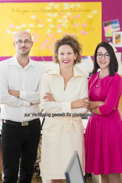 ambuzzador-Geschäftsführung: Stefan Schwaha, Sabine Hoffmann, Stephanie Ogulin (Fotocredit: Jürgen Hammerschmid), © Aussender (05.09.2017)