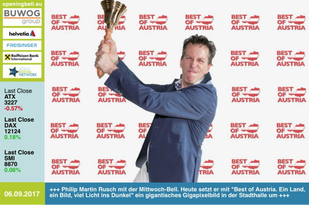 #openingbell am 6.9.: Philip Martin Rusch mit der Opening Bell für Mittwoch. Heute Abend setzt er mit Best of Austria - ein Land, ein Bild, viel Licht ins Dunkel ein gigantisches Gigapixelbild in der Stadthalle um https://www.facebook.com/bestofaustriaonline/ https://www.facebook.com/groups/GeldanlageNetwork/ #goboersewien (06.09.2017)