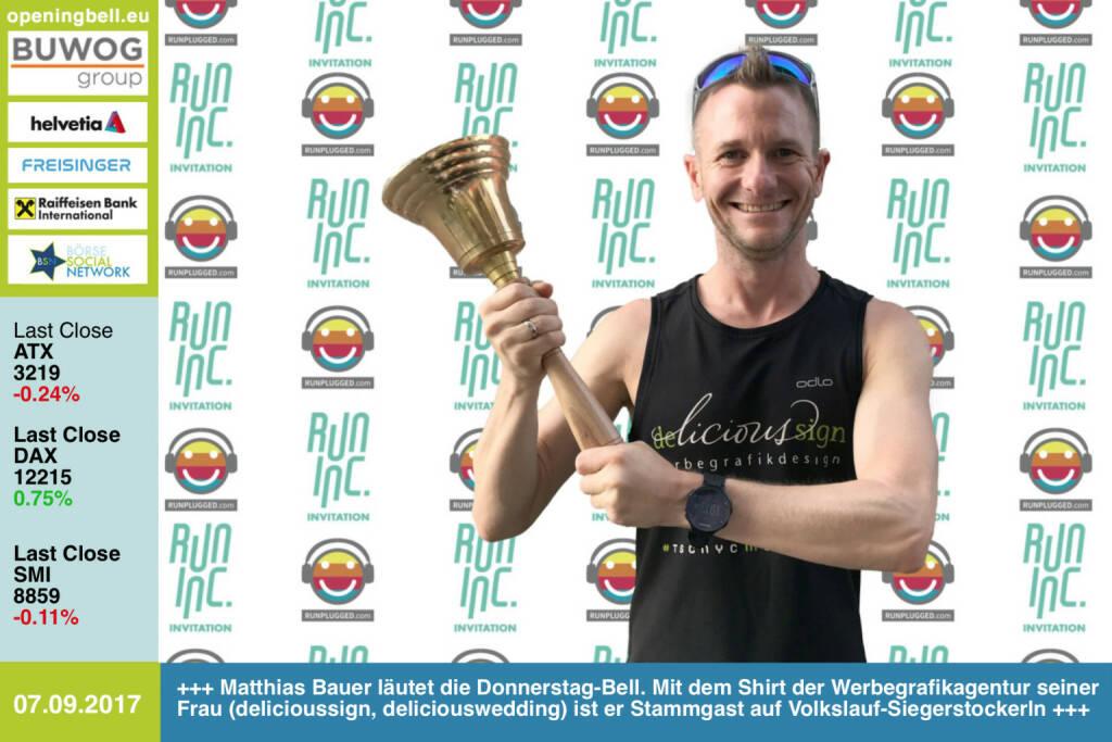 #openingbell am 7.9.: Matthias Bauer läutet die Opening Bell für Donnerstag im Rahmen der RunInc-Invitation. Mit dem Shirt der Werbegrafikagentur seiner Frau (delicioussign, deliciouswedding) ist er Stammgast auf Volkslauf-Siegerstockerln http://www.delicioussign.at http://www.runinc.at  http://www.runplugged.com https://www.facebook.com/groups/Sportsblogged/   (07.09.2017)