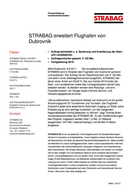 Strabag erweitert Flughafen von Dubrovnik, Seite 1/2, komplettes Dokument unter http://boerse-social.com/static/uploads/file_2329_strabag_erweitert_flughafen_von_dubrovnik.pdf (08.09.2017)