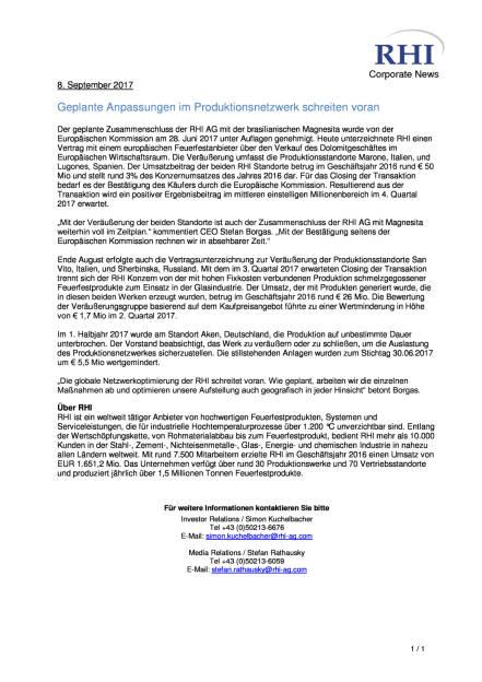 RHI: Geplante Anpassungen im Produktionsnetzwerk schreiten voran, Seite 1/1, komplettes Dokument unter http://boerse-social.com/static/uploads/file_2330_rhi_geplante_anpassungen_im_produktionsnetzwerk_schreiten_voran.pdf (08.09.2017)